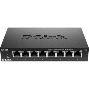 D-Link DES-108 Desktop Unmanaged Ethernet Switch - 8 x 10/100Base-TX