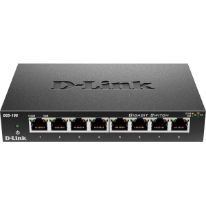 D-Link DGS-108Unmanaged 8-Port 10/100/1000Mbps Switch - 8 x 10/100/1000Base-T