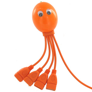 Octopus 4 Port USB Hub, High Speed, 4-Legged Octopus - Orange