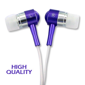 Noise Isolation HQ Metal Earbuds - Purple