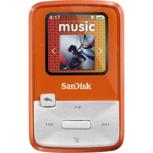 "SanDisk Sansa Clip Zip SDMX22-004G-A57O 4 GB Flash MP3 Player - Orange - Voice Recorder, FM Recorder, FM Tuner - 1.1"" LCD - MP3, WMA, AAC, Ogg Vorbis, FLAC - 15 Hour"