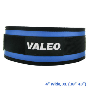 "Valeo Competition Classic Lifting Belt, 4"", LT. Blue, XL, 38""-43"""