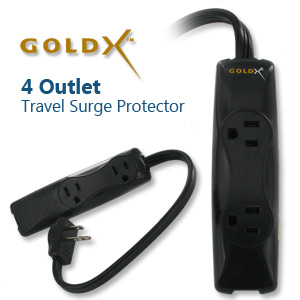 GoldX 4 Outlet 350 Joules Travel Surge Protector (GXS-704)