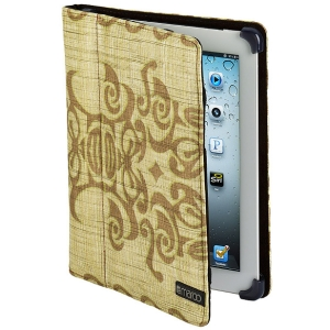 Maroo Tatau II Carrying Case (Portfolio) for iPad - Brown - Tan Tribal Graphics - Nylon