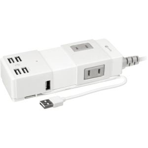 Macally 8-Outlets Power Strip - Receptacle: 4 x USB - 5 ft Cord