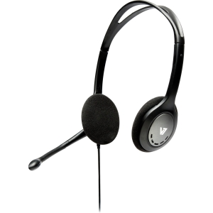 V7 HA201 Headset - Stereo - Black - Mini-phone - Wired - 32 Ohm - 20 Hz - 20 kHz - Over-the-head - Binaural - Semi-open - 5.91 ft Cable - Noise Cancelling Microphone
