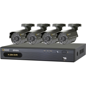 Q-see QT474-411-5 Video Surveillance System - 4 x Camera, Digital Video Recorder - H.264 Formats - 500 GB Hard Drive