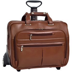 "McKleinUSA OHare R Series 86534 Detachable-Wheeled Laptop Case - Shoulder Strap , Hand Strap , Handle - 17"" Screen Support - Leather - Brown"