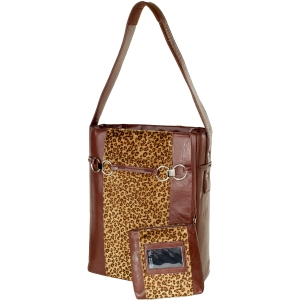 "WIB Stila Moderna Carrying Case (Tote) for 15.6"" Notebook - Brown Leopard - Faux Leather, MicroFiber"