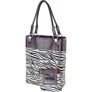 "WIB Bonita Classica Carrying Case (Tote) for 15.6"" Notebook - Royal Purple - Zebra - Faux Leather"