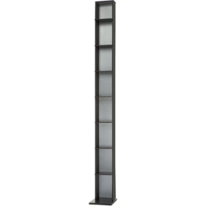 "Atlantic Elle Media Storage Tower - 63.1"" x 8.1"" - Pocket(s)153 x CD, 56 x DVD, 70 x Blu-ray - 8 Compartment(s) - Wood, Carbon Fiber - Black, Silver Body, Interior"
