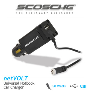 Scosche netVOLT Universal Netbook Car Charger with USB Charging Port - 50 Watts
