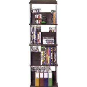 "Atlantic Typhoon Multimedia Storage Tower - 35.8"" x 11.9"" x 11.9"" - Pocket(s)216 x CD, 114 x DVD - 8 Compartment(s) - Steel - Espresso, Silver Ro"
