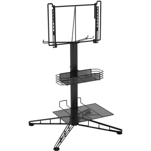 "Atlantic TV Stand - Up to 42"" Screen Support - 80.00 lb Load Capacity - 44.0"" Height x 23.0"" Width - Powder Coated - Steel - Black"