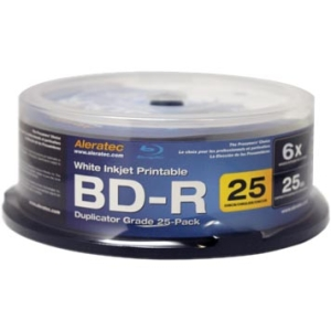 Aleratec Blu-ray Recordable Media - BD-R - 10x - 25 GB - 25 Pack Spindle - 120mm - Inkjet Printable - 2 Hour Maximum Recording Time