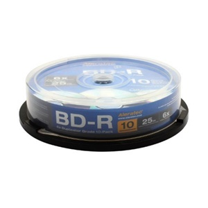 Aleratec Blu-ray Recordable Media - BD-R - 10x - 25 GB - 10 Pack Spindle - 120mm2 Hour Maximum Recording Time