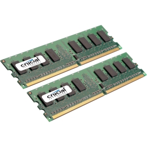 Crucial CT2KIT25672AA80E 4GB DDR2 SDRAM Memory Module - 4 GB (2 x 2 GB) - DDR2 SDRAM - 800 MHz DDR2-800/PC2-6400 - ECC - Unbuffered - 240-pin - DIMM