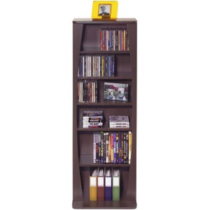 "Atlantic Canoe Multimedia Cabinet - 43.0"" x 9.5"" x 15.0"" - Pocket(s)231 x CD, 115 x DVD, 140 x Blu-ray - MDF, Steel, Wood - Espresso"