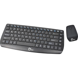 SIIG Wireless Multimedia Mini Keyboard &amp; Mouse - USB Wireless RF Keyboard - 87 Key - Black - USB Wireless RF Mouse - Optical - 800 dpi - 3 Button - Scroll Wheel - QWERTY - Black
