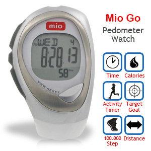 Mio Go Pedometer Watch with Steps + Distance + Calories and 7-day Memory