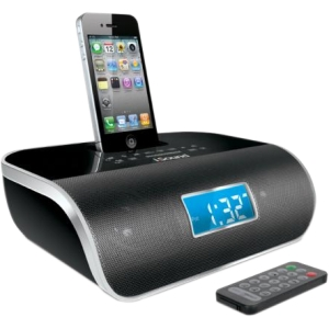 i.Sound Desktop Clock Radio - Apple Dock Interface - Proprietary Interface - 2 x Alarm - FM - iPhone Dock, iPod Dock, Charging Dock - Manual Snooze