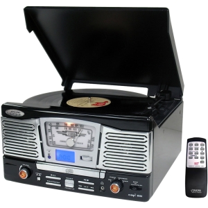 PyleHome Retro PTCD8UB Record/CD Turntable - 33.33, 45 rpm - CD-R, Secure Digital (SD) Card - Black