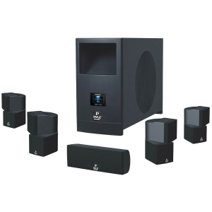 Pyle PHSA5 5.1 Speaker System - 100 W RMS - Piano Black - 50 Hz - 20 kHz