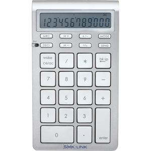 SMK-Link Bluetooth Calculator Keypad - Wireless - Bluetooth - Silver, White - 18 Key - Computer - Mac/PC Selector, Power Management, Power Switch, Wake-up, Sleep, Mode, Send Number Hot Key(s) - Calculator Built-in