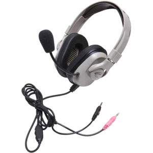 Califone Washable Headphone, Dual 3.5mm, Volume Cntrl, Via Ergoguys - Stereo - Mini-phone - Wired - 50 Ohm - 20 Hz - 20 kHz - Over-the-head - Binaural - Ear-cup - 6 ft Cable - Noise Reduction Microphone