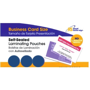 Royal Sovereign Heat Sealed Laminating Pouches 5 Mil Business Card Size Clear Gloss (100 Pack) (RF05BUSC0100)