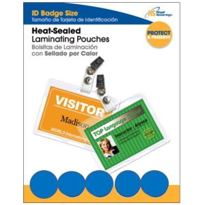 Royal Sovereign RF05IDPC0025 Heat Sealed Laminating Pouch with Clips - Badge Card - Type G - Glossy - Pre-punched - 25 / Pack - Clear