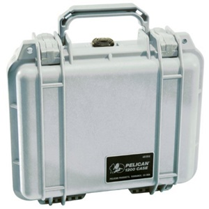 "Pelican 1200 Case with Foam - 0.16 ft³ - Internal Dimensions: 7.12"" Width x 4.12"" Depth x 9.25"" Length - External Dimensions: 9.7"" Width x 4.9"" Depth x 10.6"" Length - Copolymer - Silver"