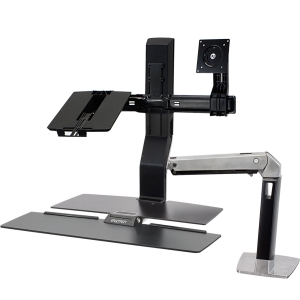 Ergotron WorkFit Mounting Arm for Flat Panel Display, Notebook, Keyboard - 20&quot; Screen Support - 25.00 lb Load Capacity - Polished Aluminum, Black