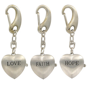 Inspirational Quartz Clock Key Chains (Love, Faith & Hope) 3-Pack