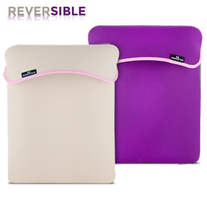 Reversible Notebook Sleeve Fits Most Widescreens Up to 15.4&quot; - Purple/Cream