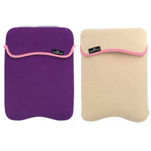"Reversible Notebook Sleeve Fits Most Widescreens Up to 12.1"" Purple and Cream"