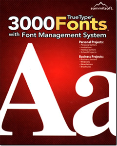 3000 TrueType Fonts - with Font Management System