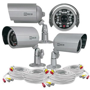 Mace Security MVK-SQCAM-IRVB MaceView SQ IR Bullet Kit with 4 IRVB4 Cameras and 100-Foot Cables
