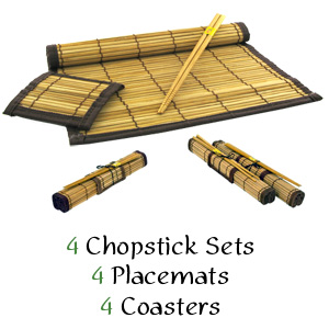 Ekco PAO! 12-Piece Bamboo Placemat, Coaster &amp; Chopstick Set