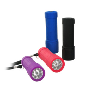 Super Bright 9 LED Rubber Grip Anti Shock Flashlight - Weather and Slip Resistant  (Random Colors)