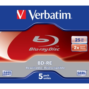 Verbatim 43615 Blu-ray Rewritable Media - BD-RE - 2x - 25 GB - 5 Pack - 120mm2 Hour Maximum Recording Time