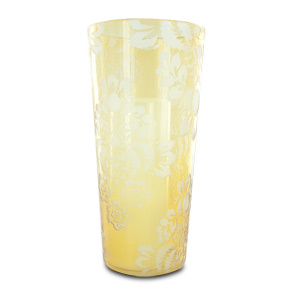 HomeReflections 12&quot; Etched Floral Hurricane &amp; Candle w/Timer (Amber) -  H190738