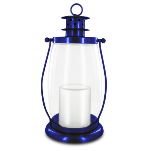 HomeReflections Indoor/Outdoor Flameless Candle Hurricane Lantern w/Timer & Chain (Blue) -  H191794