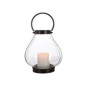 HomeReflections Indoor/Outdoor Galvanized Lantern with Flameless Candle &amp; Timer (Black) - H191911