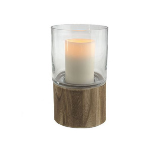 HomeReflections Glass Hurricane Flameless Candle Holder with Wooden Base - H192380