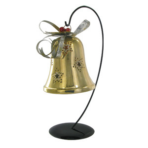 HomeReflections Hand Painted Hanging Bell with Flameless Candle (Silver/Gold) - H192682