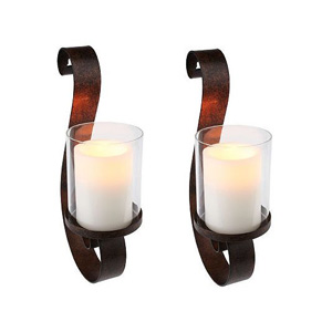 HomeReflections H193709 Set of 2 Wall Sconces w/Flameless Candles w/Timer eBay