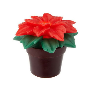 HomeReflections Poinsettia Flower Flameless Candle with Timer (Red) -  H193899