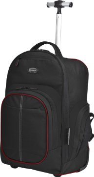 16 Compact Rolling Backpack - Black/Red