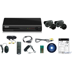 Kguard All-in-One Surveillance Combo Kit - 4CH H.264 DVR with 2 CMOS Cameras - 2 x Camera, Digital Video Recorder - H.264 Formats - 500 GB Hard Drive
